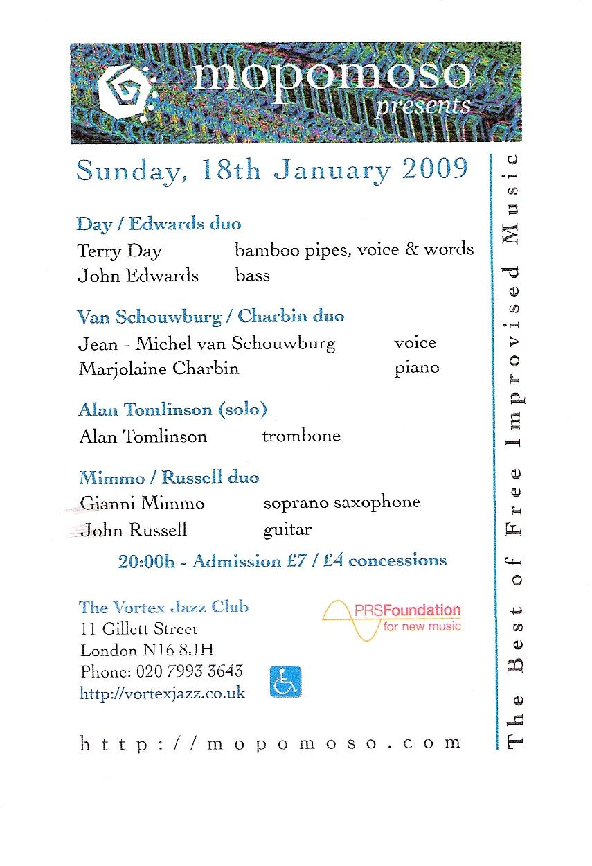 Mopomoso flyer 18th Jan 2009